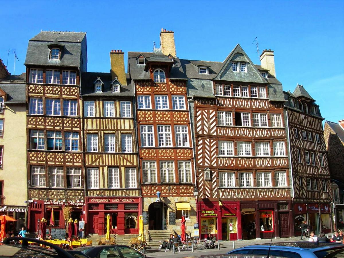 Francia Rennes pl Ch Jacquet Casco antiguo 1500