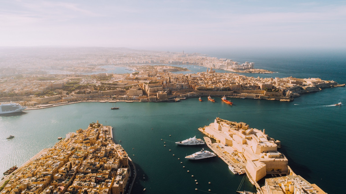 Aerial view of Three Cities overlooking Valletta Harbour
