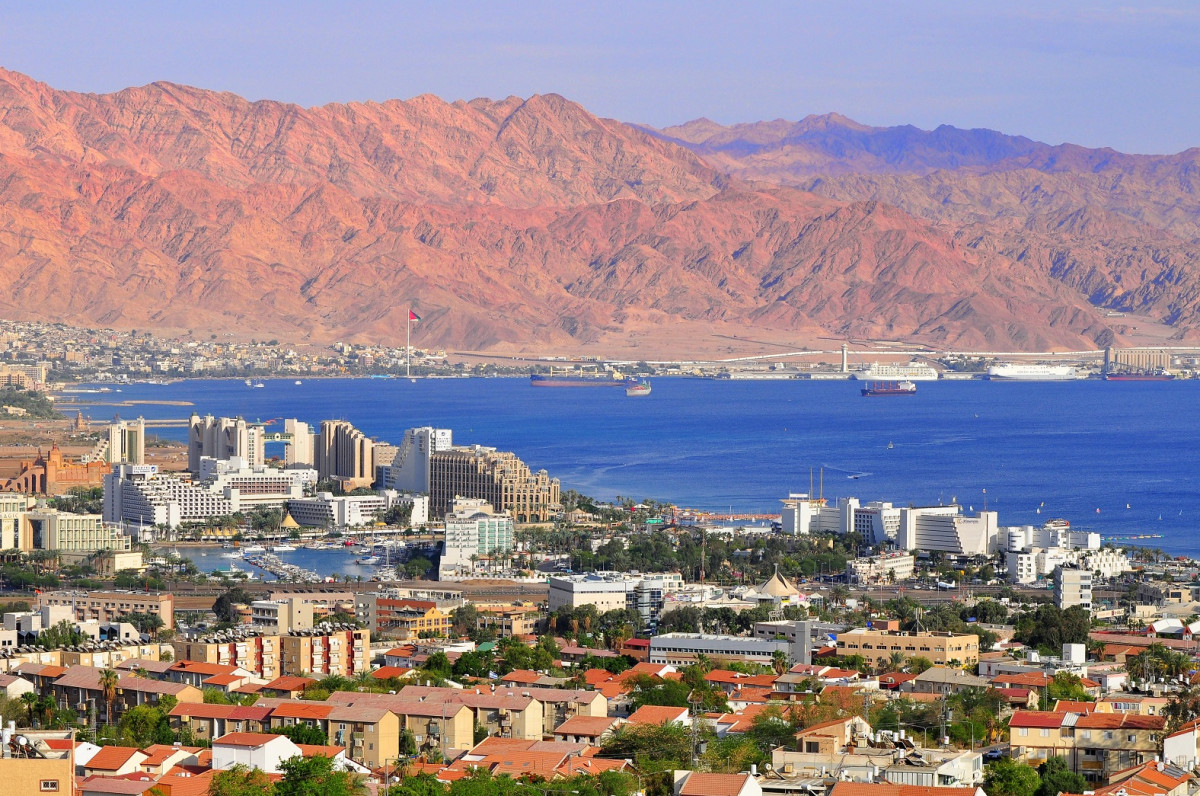 View to Eilat city, famous international resort   the southest city of Israel 1576