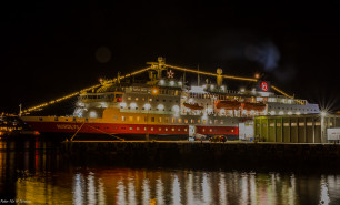 MS Nordlys with christmas lights Norway HGR 109440