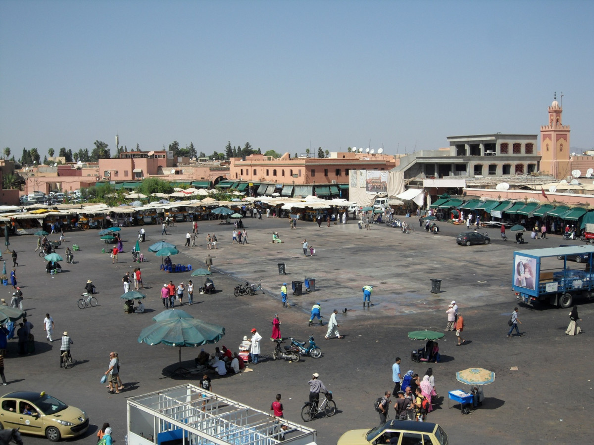 Marruecos Plaza de Jamaa el Fna es la plaza central de Marrakech aas