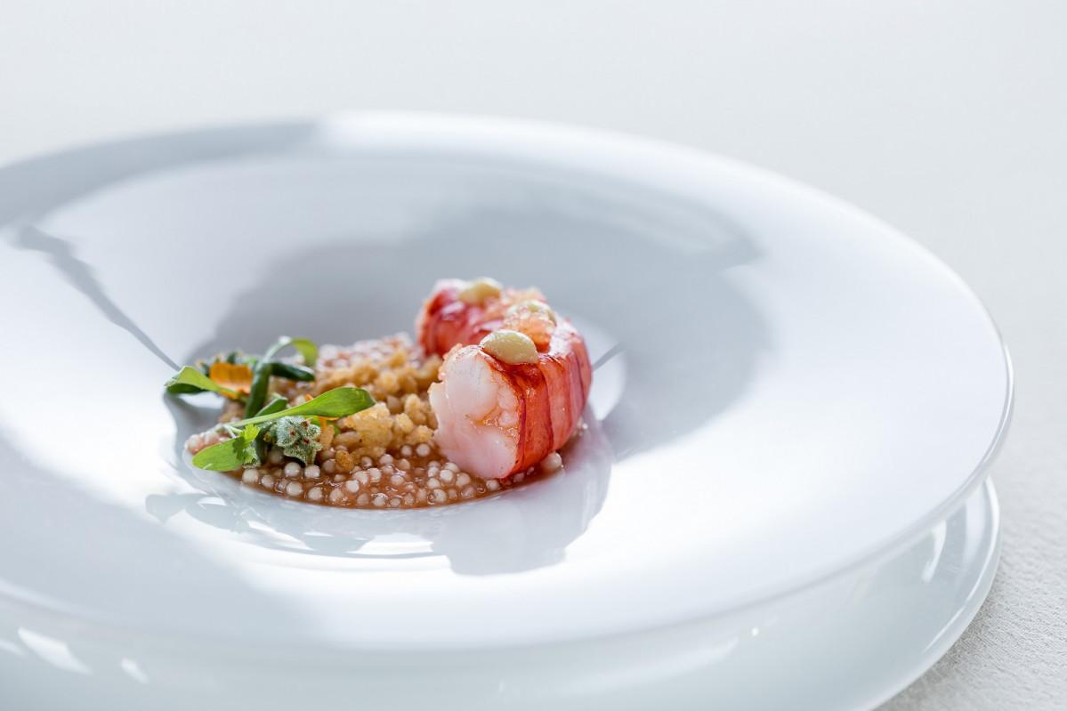 ALGARVE RESTAURANTE VISTAS Carabineiro , Tapioca pearls,  Puffed Rice,  Ginger  Lemon Caviar   by chef Rui Silvestre