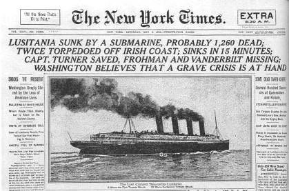 Portada del 8 de mayo de 1915 del diario The New York Times e1367919140618